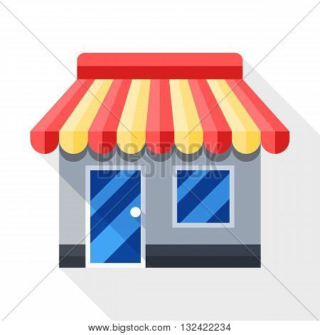 Vector Store or Shop icon. Shop or Store simple icon in flat style with long shadow on white background
