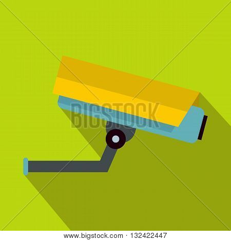 Surveillance camera icon in flat style on a green background