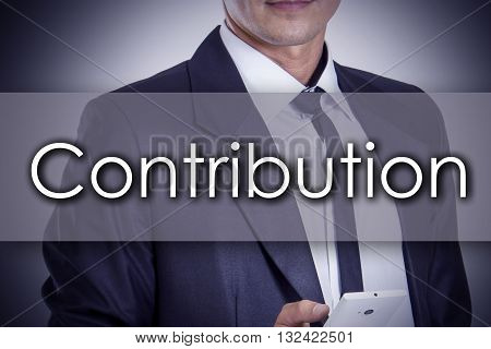 Contribution - Young Businessman With Text - Business Concept