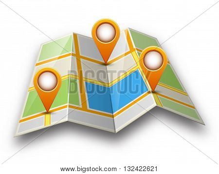 Abstract street map icon with map pointer and shadow isolated on white background. Mapping points on city map map pointers mark place signs