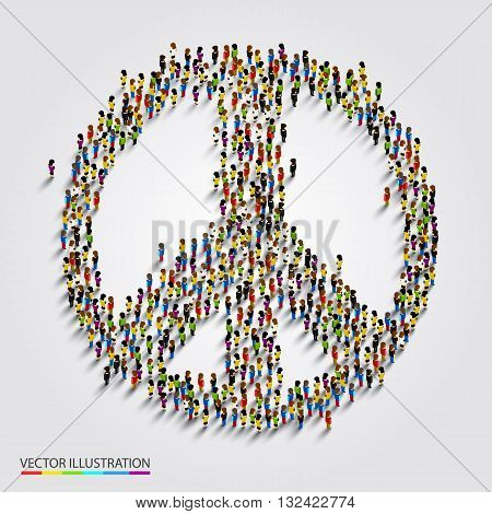 Large group of people gathered together in peace sign. Vector illustration