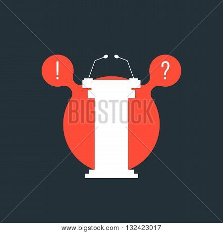 white tribune in red bubble. concept of meeting, media reporter, announcement, questions and answers, presenter, voting, audience, award. flat style trendy modern logo design vector illustration