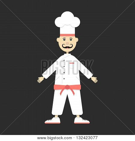 chef isolated on black background. concept of bon appetite, culinary, chief, haute cuisine, figure, personage, caterers, food master. flat style trendy modern design eps10 vector illustration