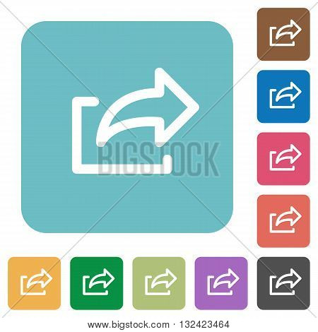 Flat export icons on rounded square color backgrounds.
