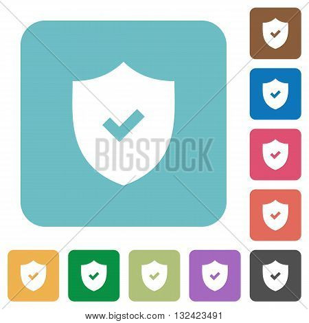 Flat active security icons on rounded square color backgrounds.