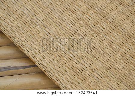 bamboo mat on the litter in garden