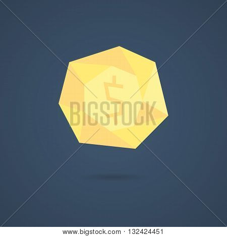 yellow polygonal coin with shadow. concept of richness, deposit policy, nest egg, money for rainy day and thrift. isolated on stylish background. flat style modern logo design vector illustration