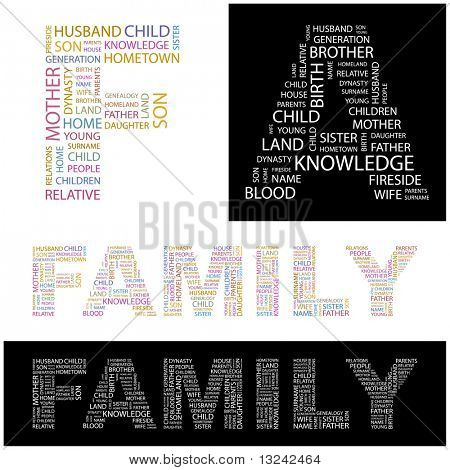 FAMILY. Word collage. Illustration with different association terms.