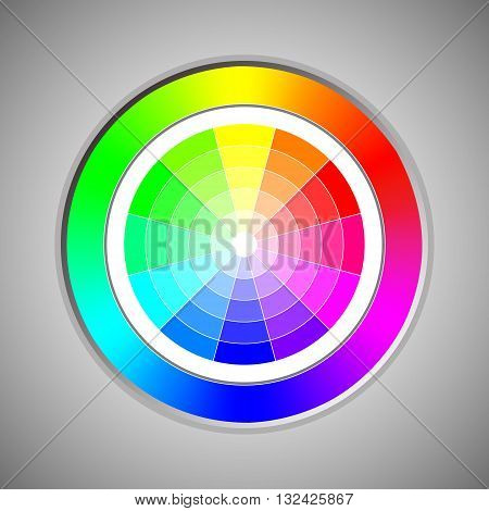 An abstract illustrative organization of color hues around a circle