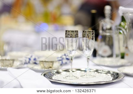 Serving beautiful dishes on the table. Decoration.