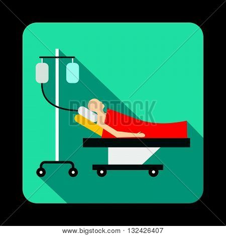 Patient in bed on a drip icon in flat style with long shadow. Treatment and medicine symbol