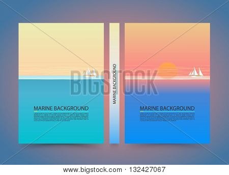 Blue sea and clouds on sky banner, Nature cover background, A4 size paper, Vector illustration