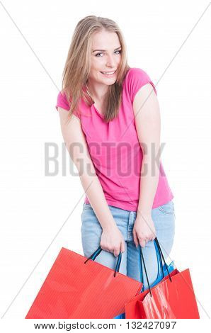 Cheerful Cute Woman Enjoying Freetime And Doing Shopping