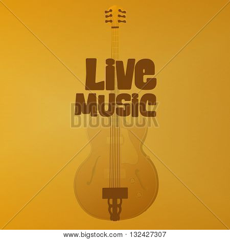 Vector illustration hole in the form of jazz guitar with the inscription live music and a gold background.