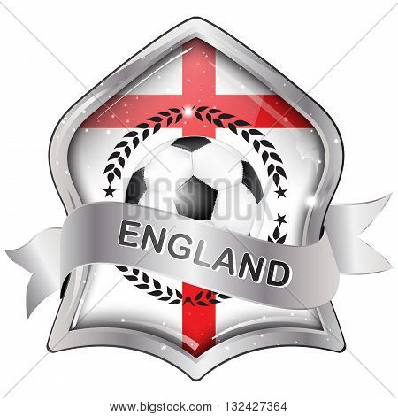 England soccer elegant shiny icon / button / label with soccer ball with national flag.