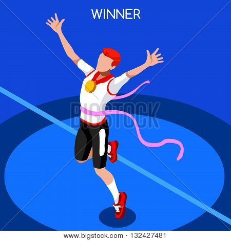 2016 Running Winning Man Athletics Summer Games Icon Set.Win Concept.3D Isometric Win Runner Athlete.Sport of Athletics Sporting Competition.Sport Infographic Track Field Vector Illustration