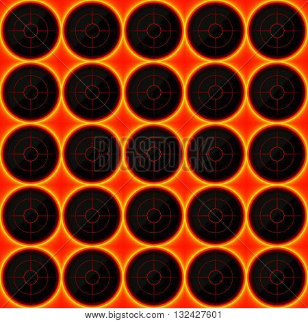 Circles of black stone with hot streaks of energy. Seamless vector texture. Technology seamless pattern. Vector geometric dark background.