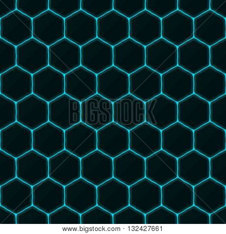 Hexagons of black stone with blue streaks of energy. Seamless vector texture. Technology seamless pattern. Vector geometric dark background.