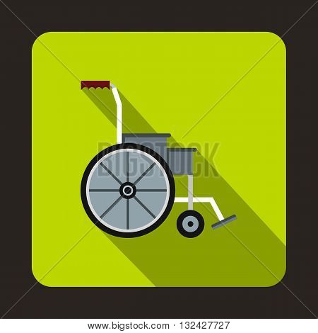 Wheelchair icon in flat style with long shadow. Equipment symbol