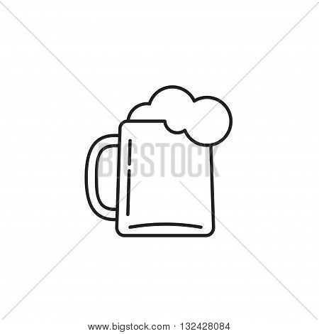 Beer glass vector icon isolated on white, black and white beer mug symbol with foam, cartoon outline line design