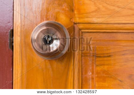 Door Knob And Keyhole On Wooden Door