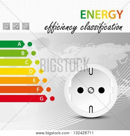 Energy efficiency classification concept - electric power consumption brochure template - electricity infographic