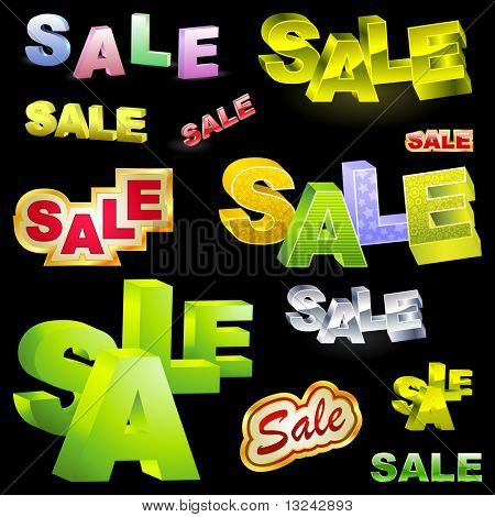 SALE. Vector 3d illustration.