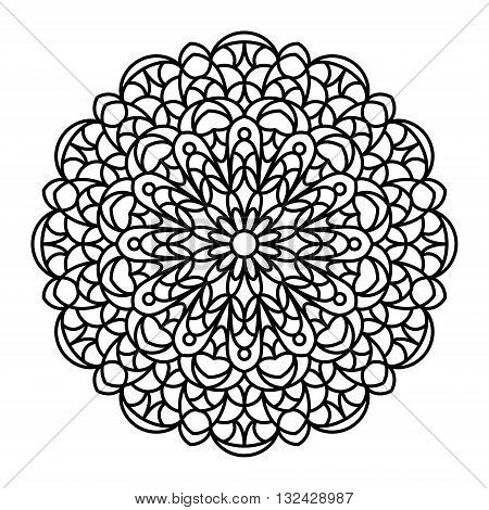 Mandala outline. Line mandala isolated on white background. Anti stress intricate black mandala for anti stress coloring books, cards, stamps, web design and more.