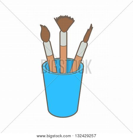 Brushes for painting in the holder icon in cartoon style on a white background