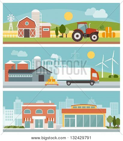 Agriculture industrial production transport and commerce banners set city and landscapes with buildings and machinery