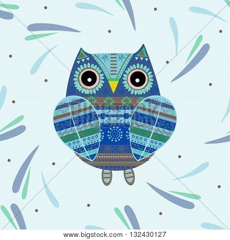 Cute owl with ethnic ornament. Animal bird symbol of wisdom. Funny owl. Vector owl. Bird of prey owl.