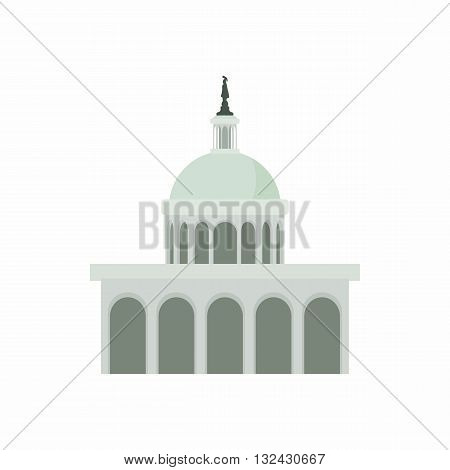 White House in Washington DC icon in cartoon style on a white background