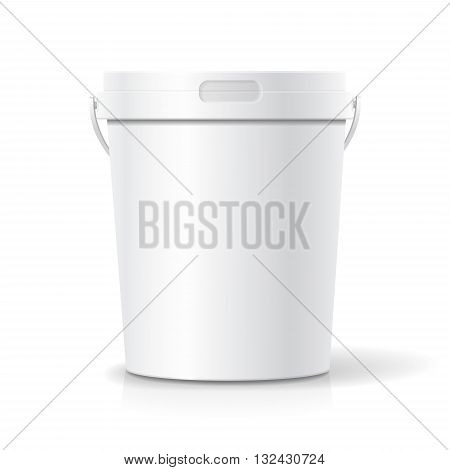 White food plastic tub bucket container with handle for dessert, yogurt, ice cream, or snack.