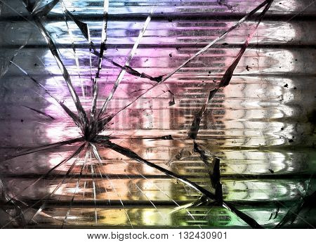 Abstract concept broken glass block for background