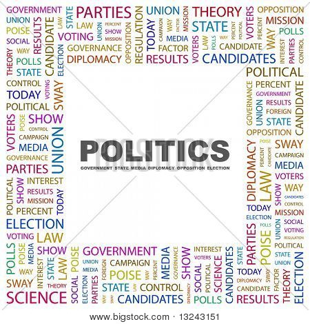 POLITICS. Word collage on white background. Illustration with different association terms.