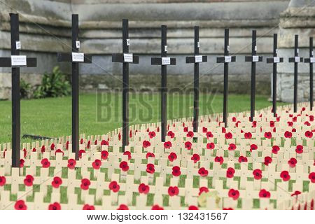 London, United Kingdom - November 3, 2012: Westminster Abbey gardens. In memory of the fallen