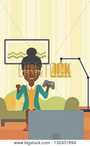 An african-american woman with gamepad in hands sitting on a sofa in living room vector flat design illustration. Vertical layout.