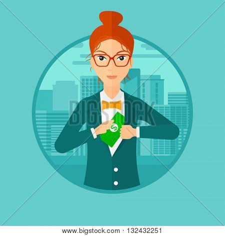 A woman putting money in her pocket on a city background. Vector flat design illustration in the circle isolated on background.