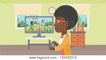 An african-american woman playing video game with gamepad in hands in living room vector flat design illustration. Horizontal layout.
