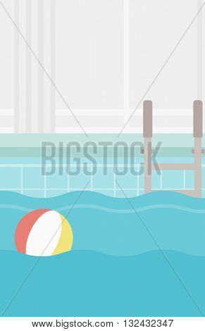 Background of swimming pool with inflatable ball vector flat design illustration. Vertical layout.
