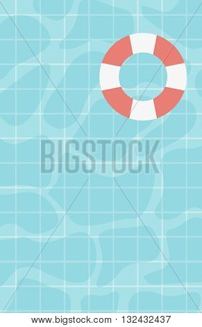 Background of water surface with floating lifebuoy vector flat design illustration. Vertical layout.
