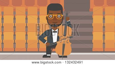 An african-american man playing cello on the background of empty theater seats vector flat design illustration. Horizontal layout.