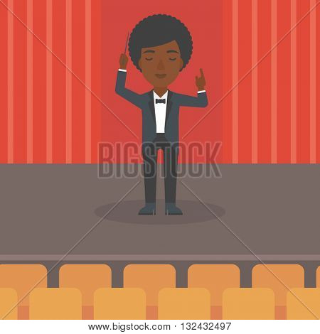 An african-american woman directing with her baton on the stage vector flat design illustration. Square layout.