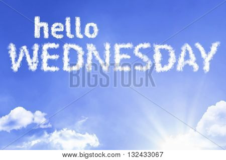 Hello Wednesday cloud word with a blue sky