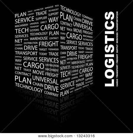 LOGISTICS. Word collage on black background. Illustration with different association terms.