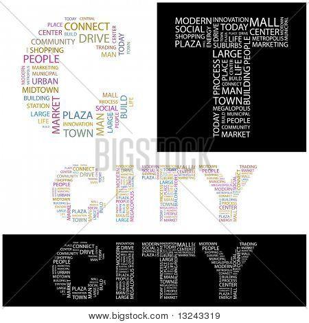 CIUDAD. Collage de la palabra. Ilustración con términos diferentes de la asociación.