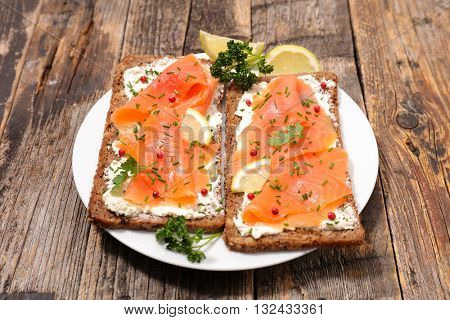 toast with cheese and smoked salmon