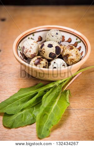 some small quail eggs in dish with fresh sorrel