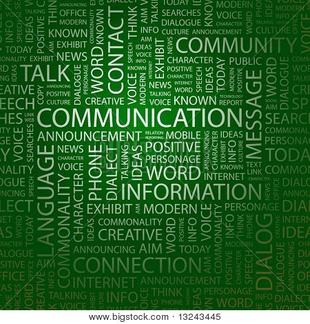 COMMUNICATION. Word collage. Illustration with different association terms.