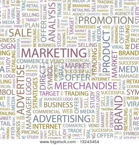 MARKETING. Seamless vector background. Wordcloud illustration.